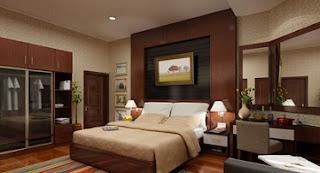 habitación decorada colores tierra