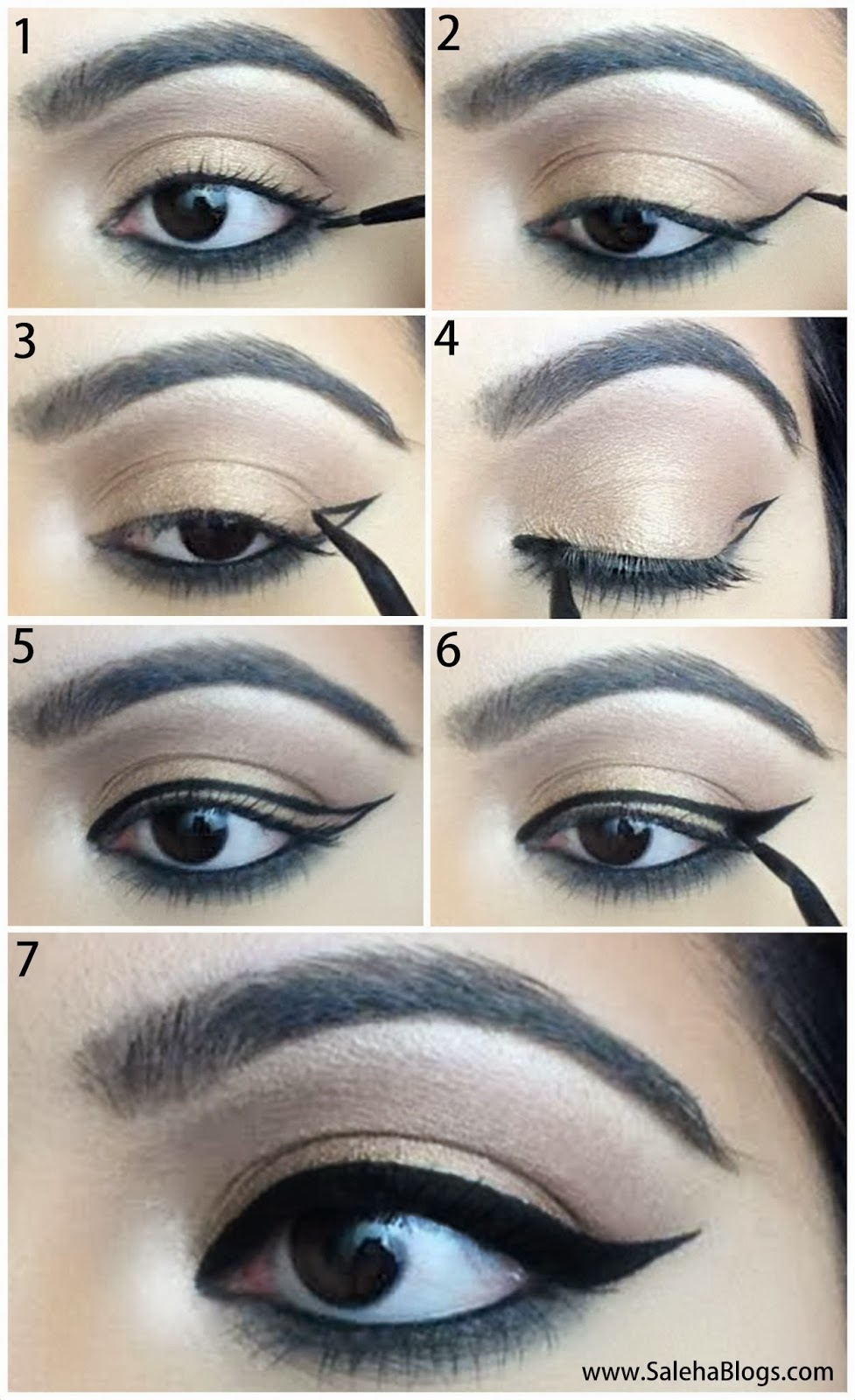 Saleha Blogs: How To Do Perfect Winged Eyeliner