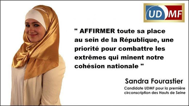 Affiche promotionnelle de Sandra Fourastié, candidate UDMF aux élections législatives 2017