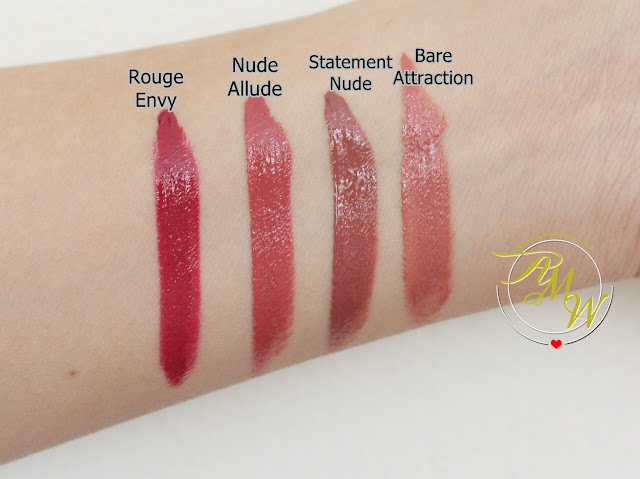 a swatch photo of L'Oreal Infallible Pro Matte Gloss rouge envy, nude allude, statement nude and bare attraction