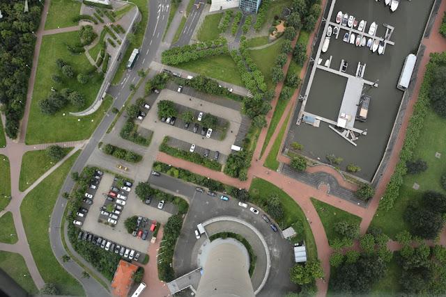 Rheinturm Dusseldorf downwards shot