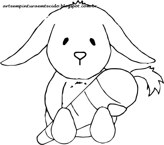 risco para pintura em tecido páscoa coelho cenoura