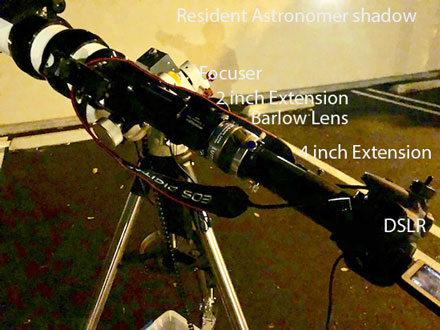 Final position of 2.5x Barlow lens and extenders on 560mm scope (Source: Palmia Observatory)