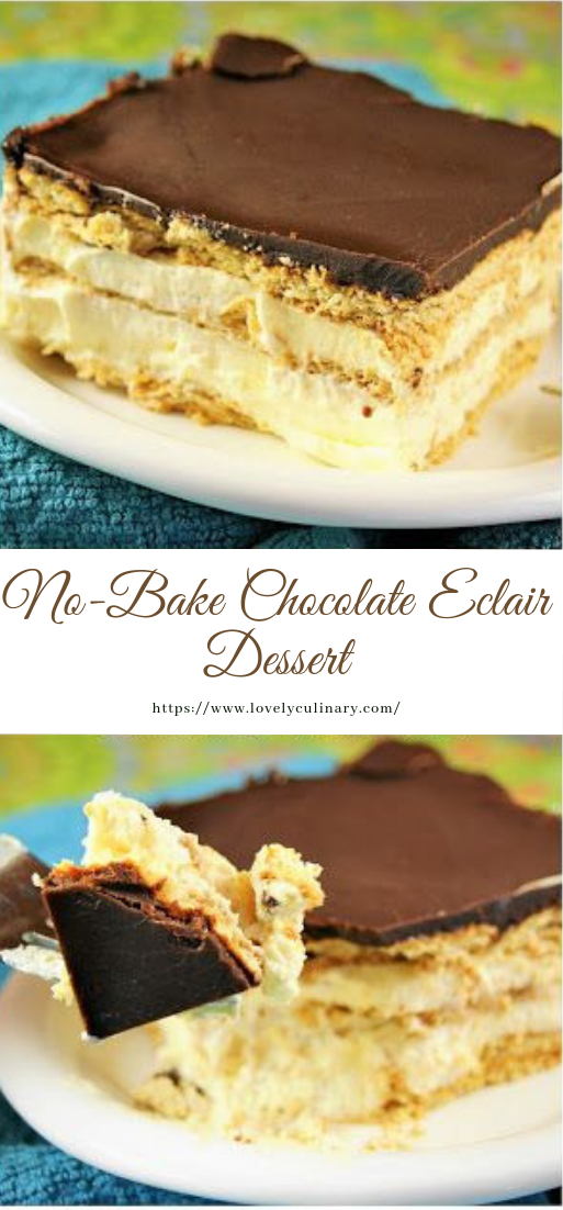 No-Bake Chocolate Eclair #Dessert #no-bake