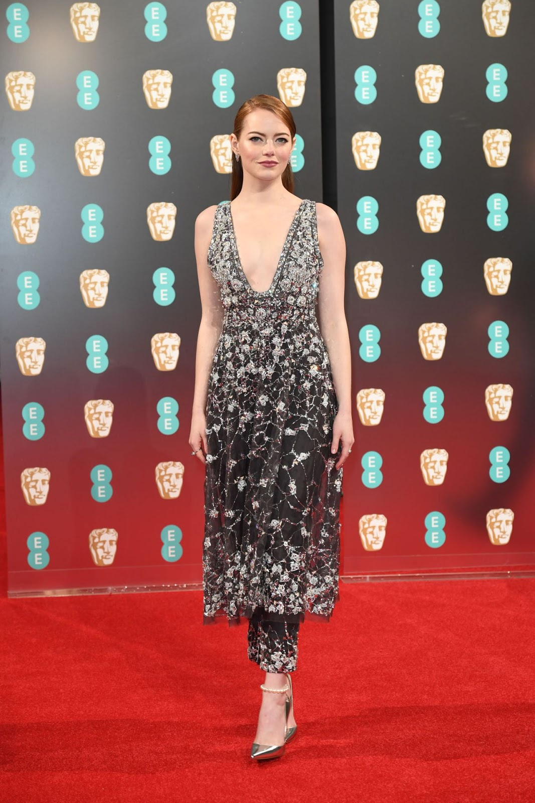 Emma Stone on Red Carpet at BAFTA Awards in London, UK