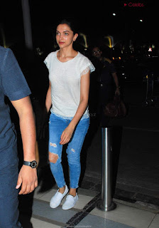 Deepika Padukone In Denim Jeans Airport Look .XYZ Exclusive