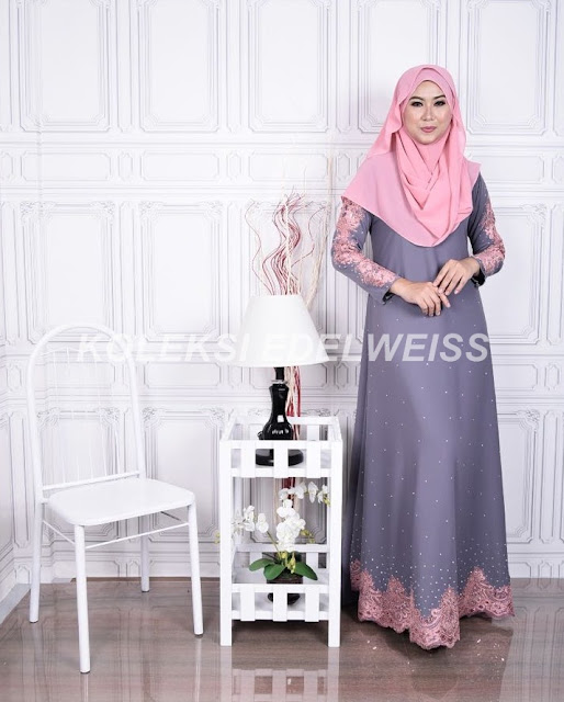 Dress Abaya Glam Warna Kelabu Lace Pink