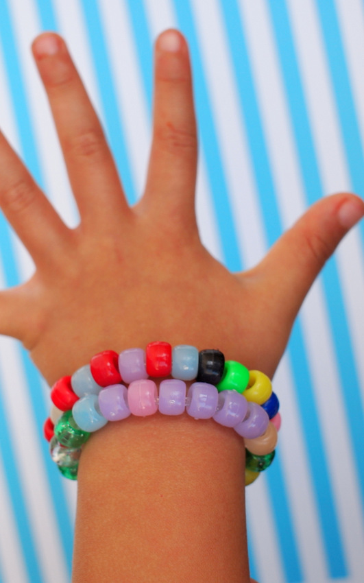 Color Changing Bracelets-  Bracelet looks one way inside... and changes color in the sunlight!  The ULTIMATE spring and summer craft for kiddos!