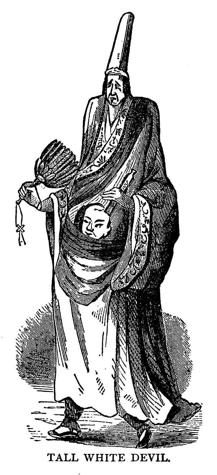 an 1800s China comedian, tall white devil