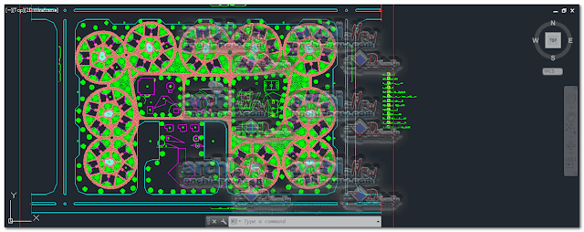 Horizontal projections of the project A tourist village Dwg