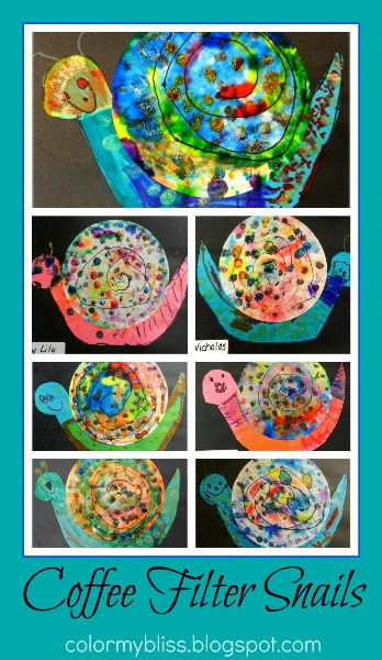 Color My Bliss Preschool Art Coffee Filter Snails