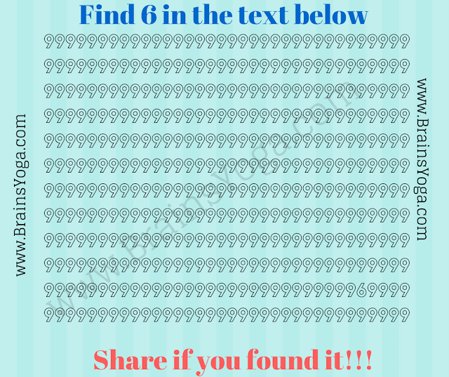 Picture Puzzle to find hidden number 6