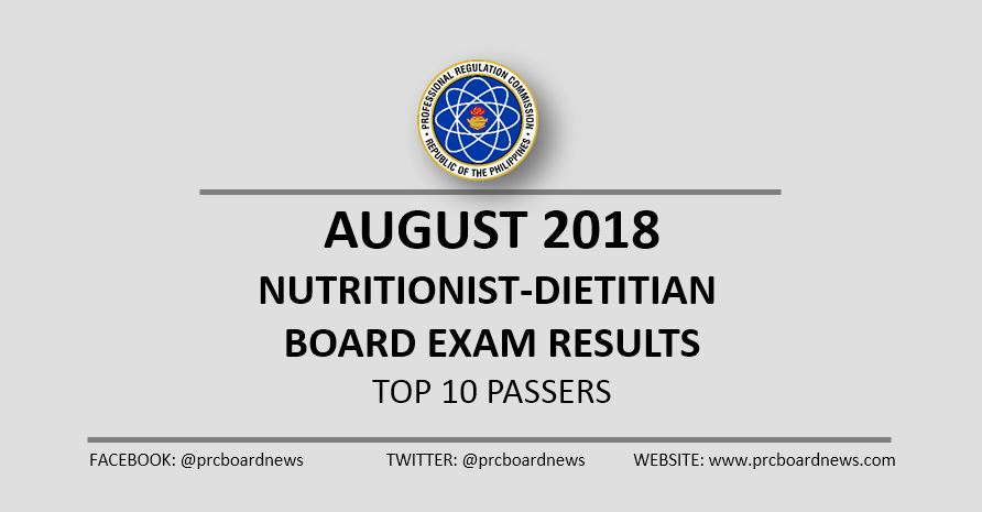 PRC RESULT: August 2018 Nutritionist Dietitian ND board exam top 10
