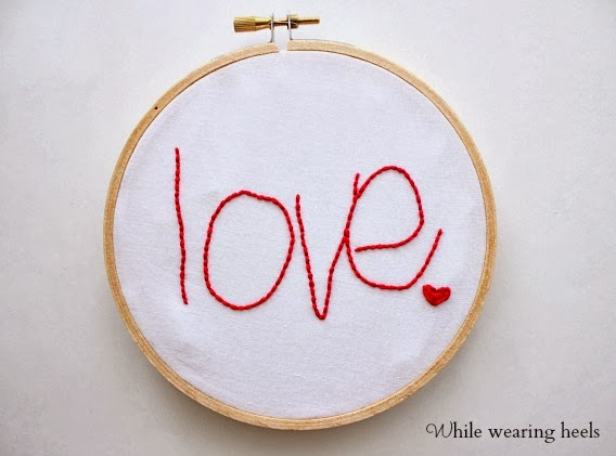 embroidered handwriting love