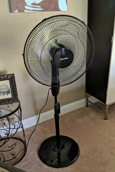 image of a black standing fan in my living room