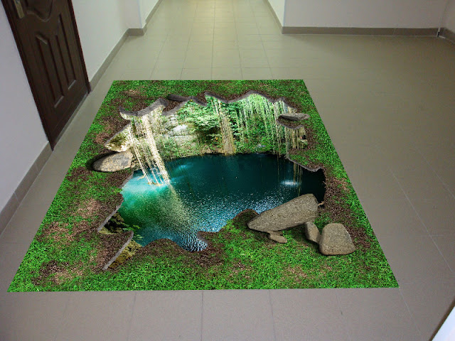 3d floor ideas with rocks grass greenery and water