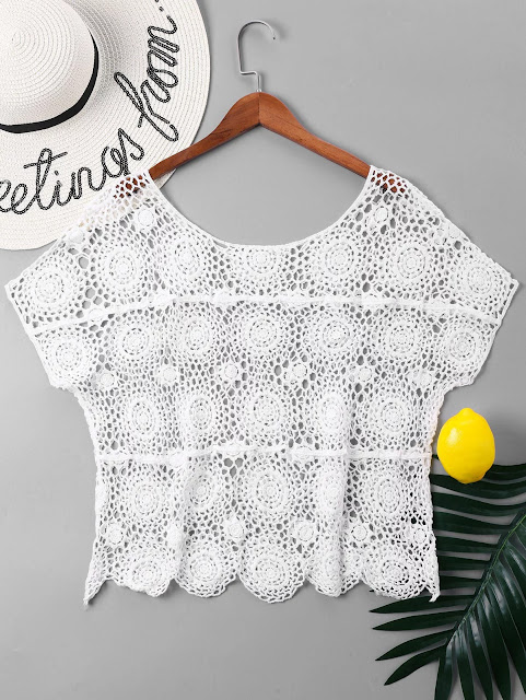 Crochet Hollow Out Cover Up Top - White