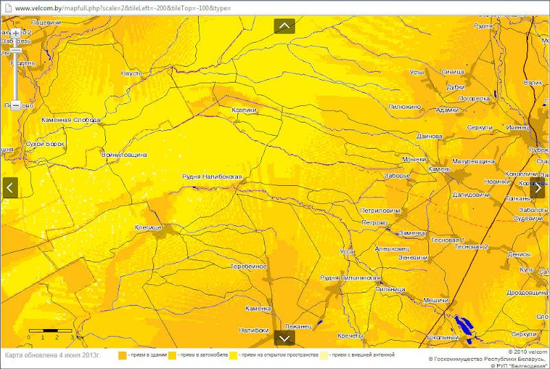 Карта Velcom покрытия участка Налибокской пущи