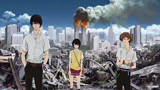 Bohaterowie anime Zankyou no Terror od lewej Dziewięć, Lisa Mishima oraz Dwanaście