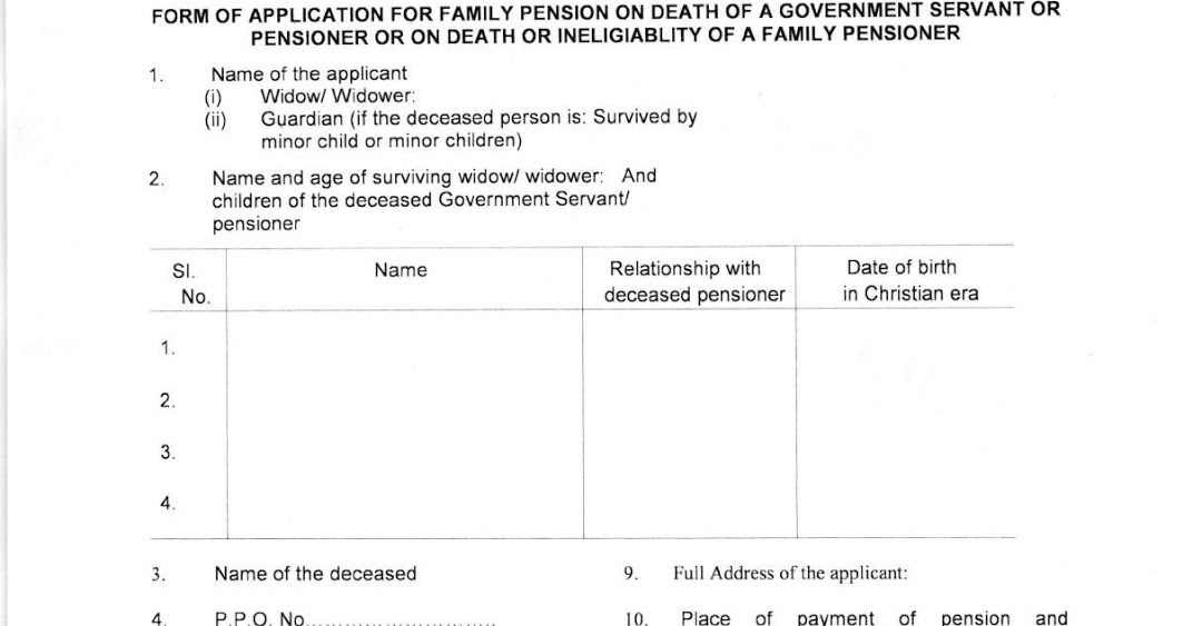 Application Form For Family Pension On Death Of A