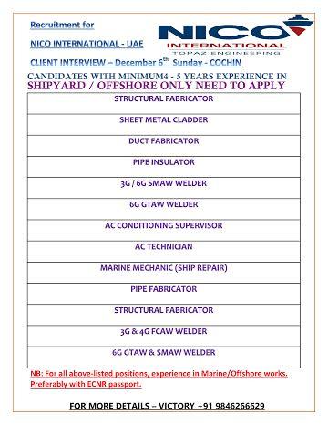 Recruitment for NICO Iinternational -Dubai UAE Client