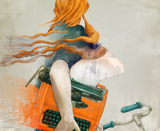 Poster, Orange typewriter