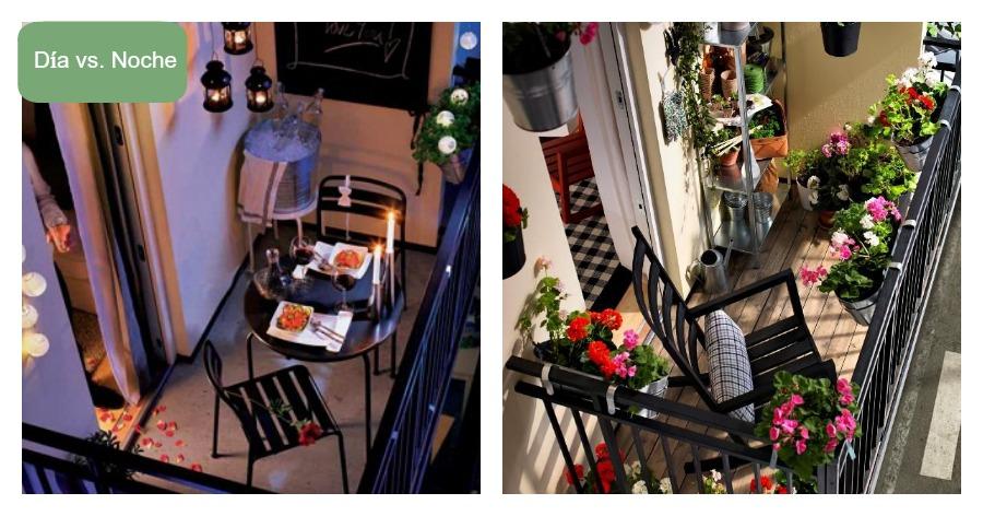 Un mismo balcón de día y de noche