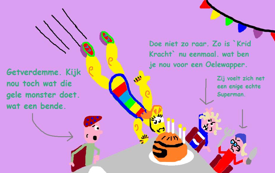 1100200e92 Op deze foto is te zien hoe `Krid Kracht` van `De Mukkies` ook ineens  nadoet als `Usten Beletsky` die in het Feestpubliek belandt waardoor zij  ging knoeien ...