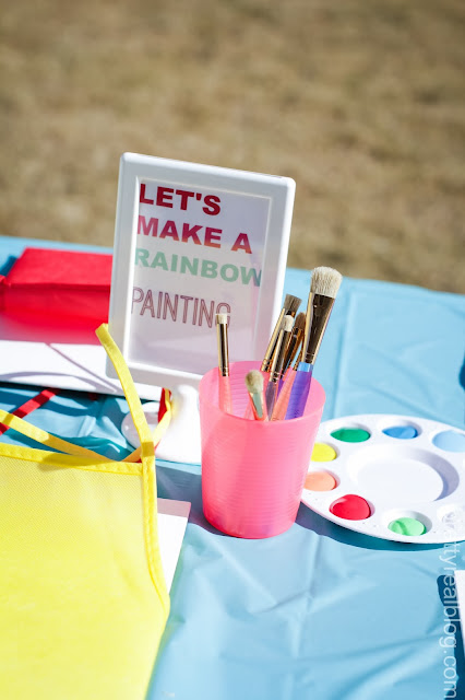 Painting station for an art party or a rainbow party