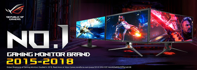 ASUS Republic of Gamers Revelada Líder Mundial de Monitores para Gaming em 2018