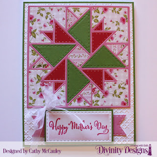 Divinity Designs Stamp Set: Daughter's Best Friend Paper Collection: Pretty Pink Peonies, Embossing Folder: Cross Stitch, Custom Dies: Quilted Triangles, Double Stitched Rectangles, Double Stitched Pennant Flags, Pierced Rectangles