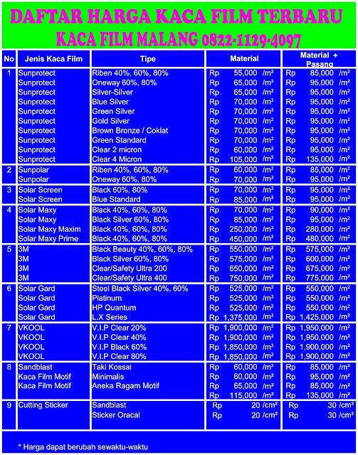 Daftar List Harga Kaca Film Mobil 0822 4443 5317 Di Malang Terbaru