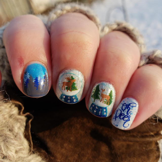 snow globe, nail art, clear jelly stamper, nailstuff.ca, layered stamping, deer