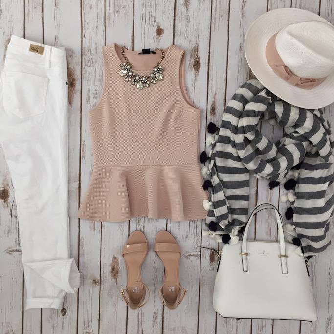 blush peplum striped tassel scarf petite white jeans