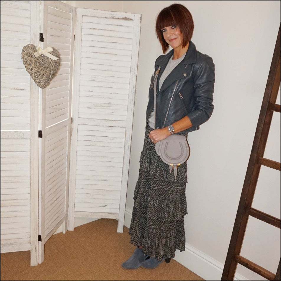 my midlife fashion, hush onyx leather jacket, marks and spencer pure cashmere round neck jumper, chloe marcie small cross body bag, hush thornton ankle boots, isabel marant etoile tiered maxi skirt