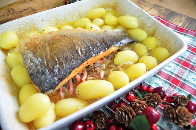 recetas de navidad, recetas de pescado, recetas de pescado al horno, recetas de pescado relleno, recetas de salmón,