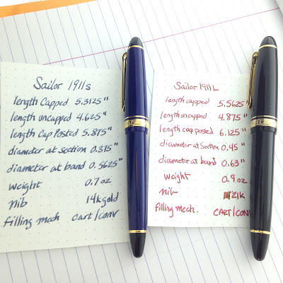 Sailor 1911S & 1911L - A Comparison