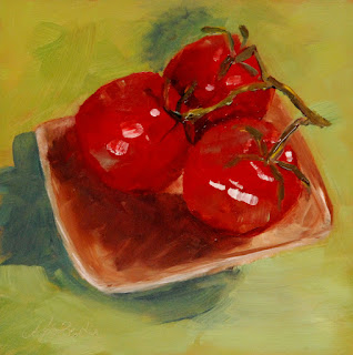 original, square, still life oil painting of tomatoes by Mary Benke www.marybenke.com