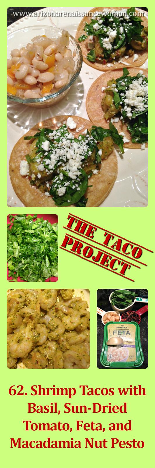 Shrimp Tacos with Basil, Sun-Dried Tomato, Feta, and Macadamia Nut Pesto Collage