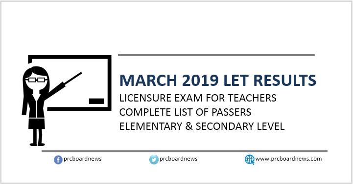 RESULTS: March 2019 LET teachers board exam list of