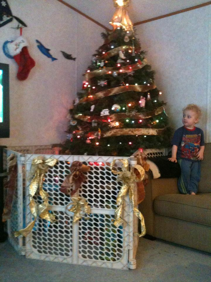 running with glitter glue how to keep your kids or pets away from your christmas tree. Black Bedroom Furniture Sets. Home Design Ideas