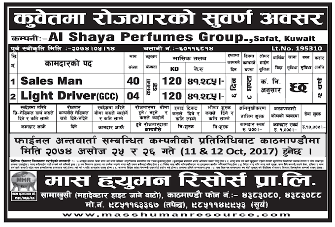 Jobs in Kuwait for Nepali, Salary Rs 41,285