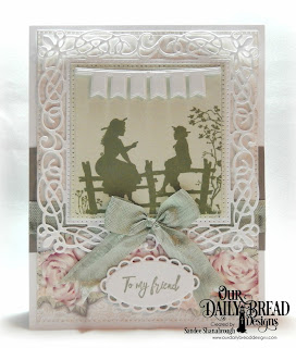 Our Daily Bread Designs Stamp Set: Sister Time,  Custom Dies: Flourishy Frame, Pierced Rectangles, Bitty Borders, Pierced Squares, Ornate Ovals, Paper Collections: Romantic Roses, Shabby Pastels