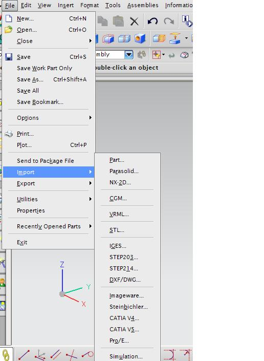 export and import file in Unigraphics NX 6 ~ Unigraphics