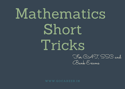 Mathematics Short Tricks from Class 10th NCRET Books for CAT, SSC and Bank Exams