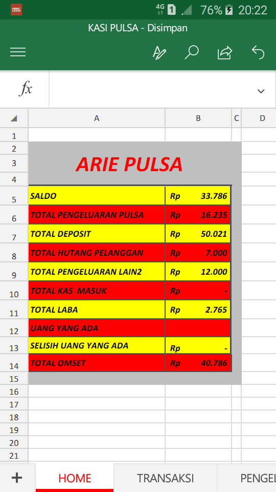 Pembukuan Pulsa Elektrik Format Excel Arie Indo Blog
