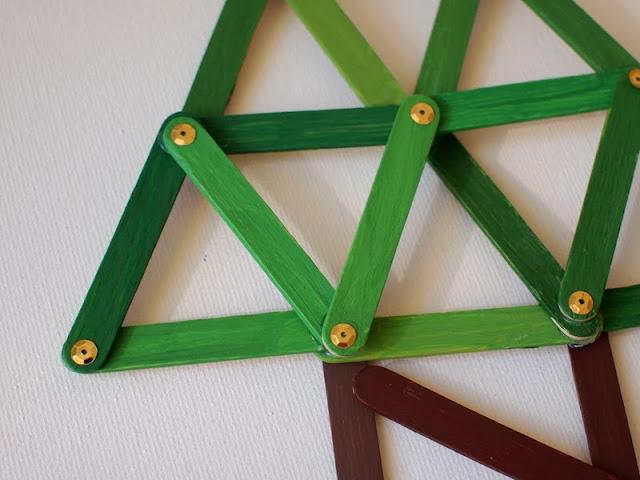 Geometric Popsicle Stick Christmas Tree Ornament Craft ...