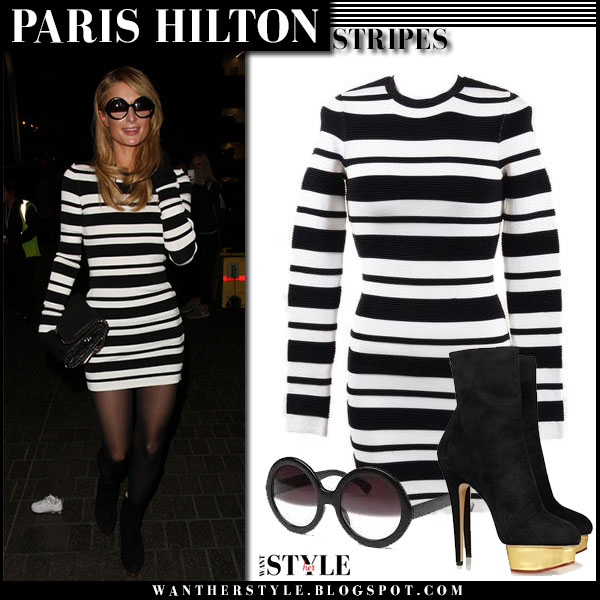 Paris Hilton in striped black and white torn by ronny kobo malena mini dress what she wore streetstyle