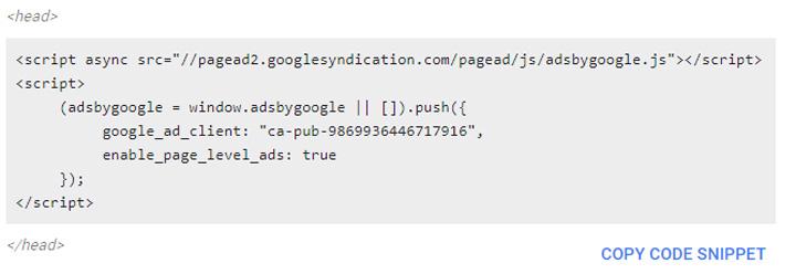 Kod Auto Ads untuk digunakan dalam blog