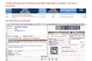 Template Poslaju Database System Chocolate (1 Page) - Design 1